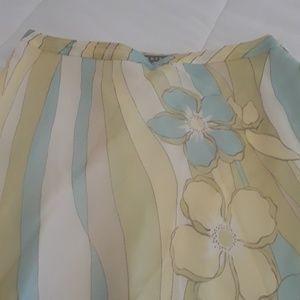 Kate Hill 100%silk flowy pastel colors skirt sz12P